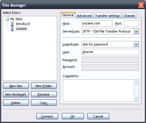 Unzane SFTP/FileZilla Configuration